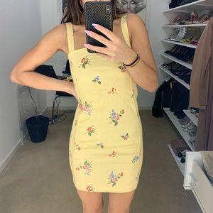 Linen-Blend Floral Print Dress